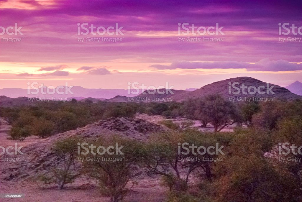Surreal sunset in the Namibian desert stock photo