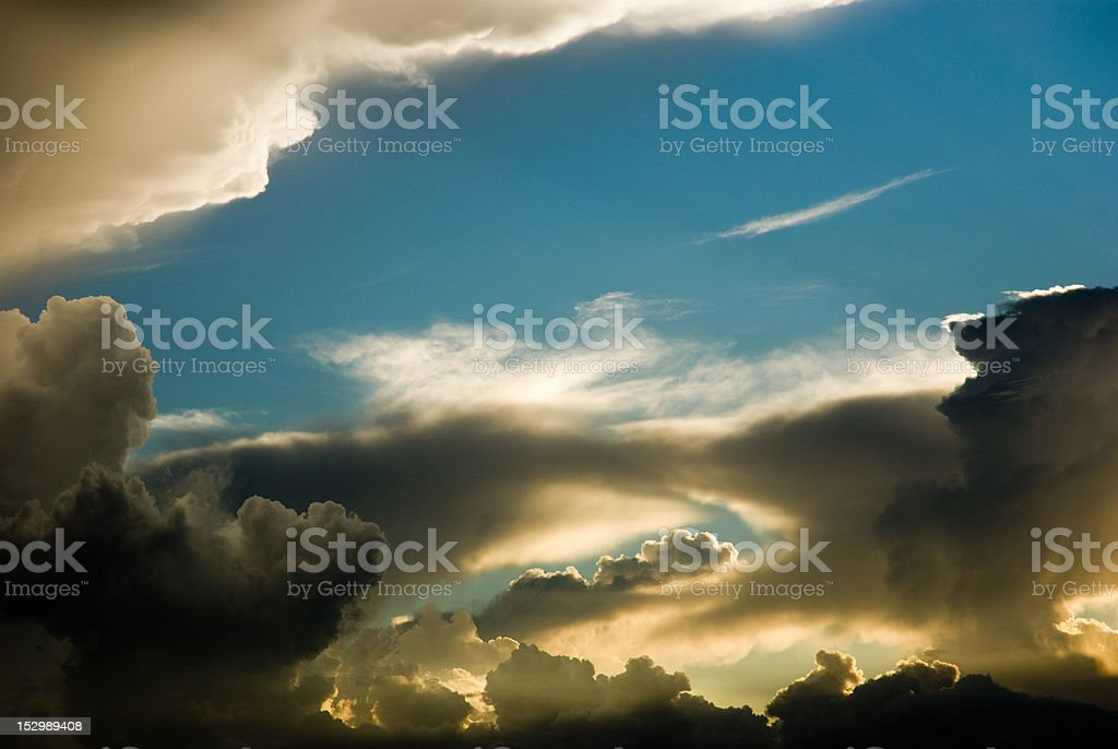 surreal sunset sky & clouds stock photo