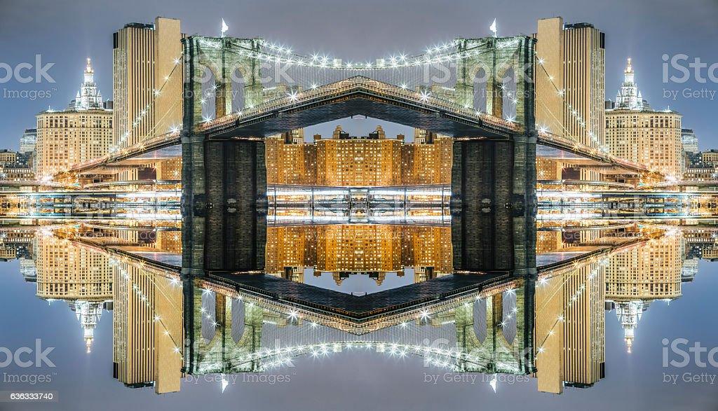 Surreal symmetry Brooklyn Bridge at night, Manhattan symmetry background stock photo
