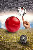 Surreal Time composition featuring red sphere compass