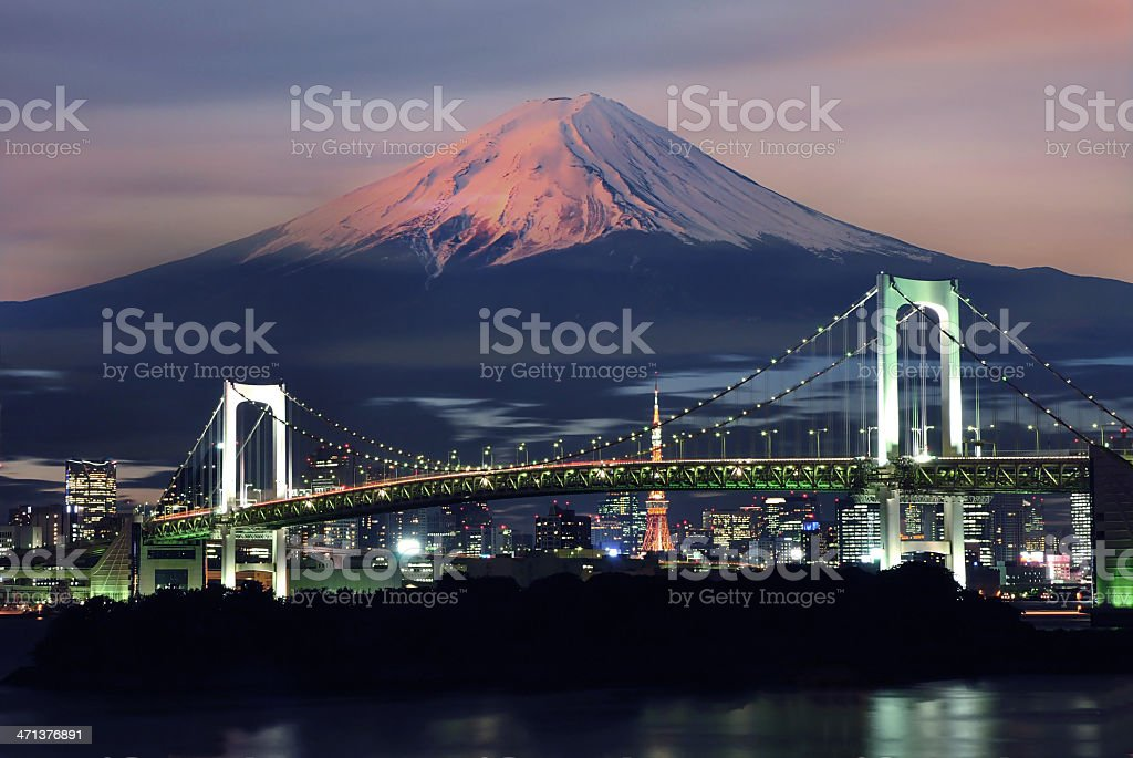 Surreal view of Rainbow bridge and Mt. Fuji stock photo