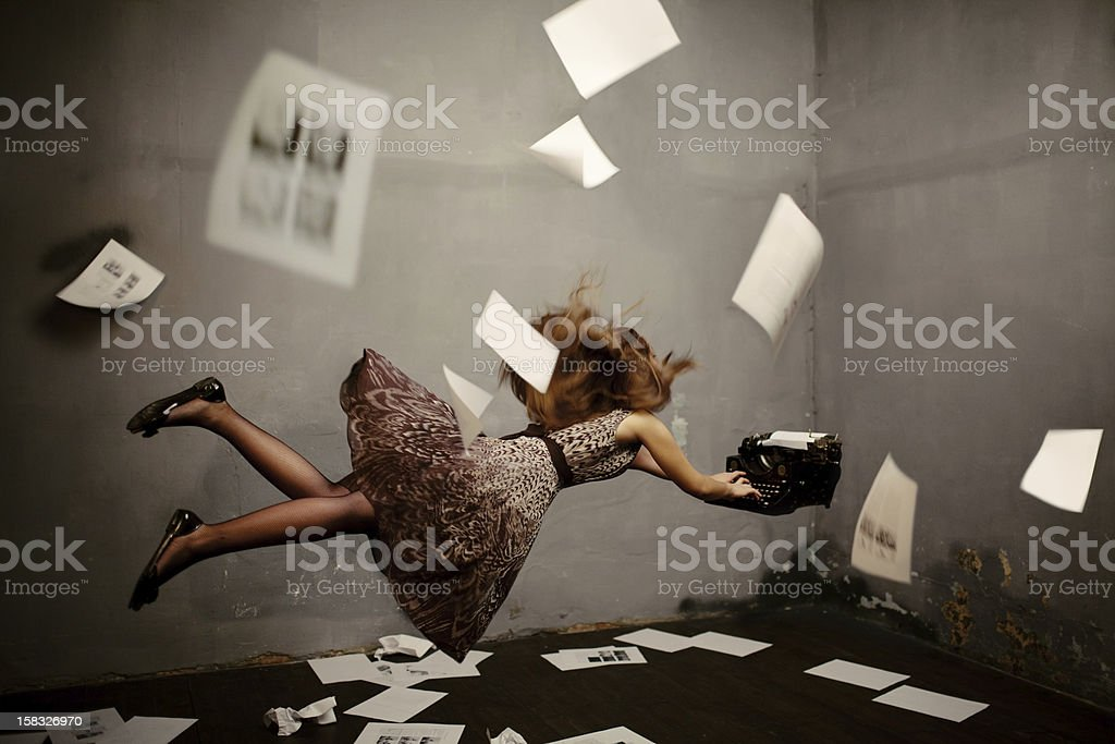 Surreal writer stock photo