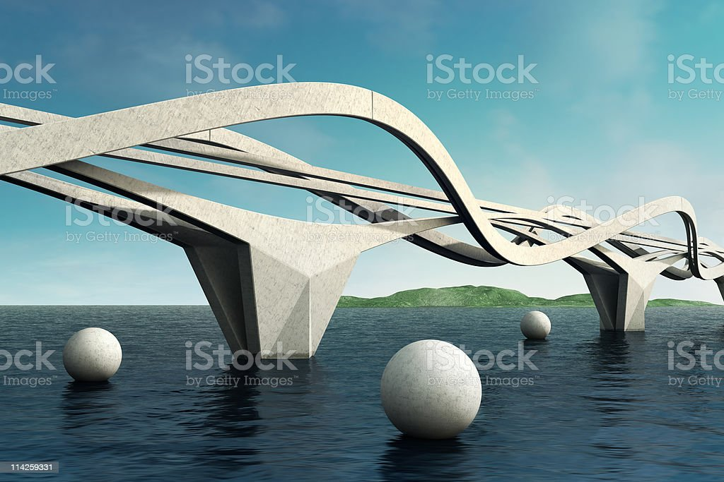 Surrealistic bridge. Connection. royalty-free stock photo