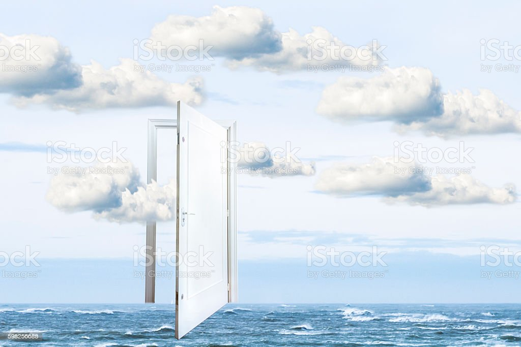 Surrealistic window open on calm ocean, window to freedom stock photo