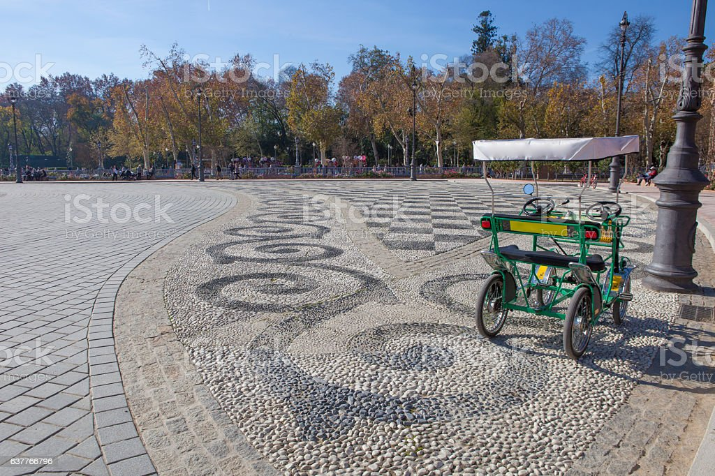 Surrey bike ready for rent, Plaza de Espana, Seville stock photo
