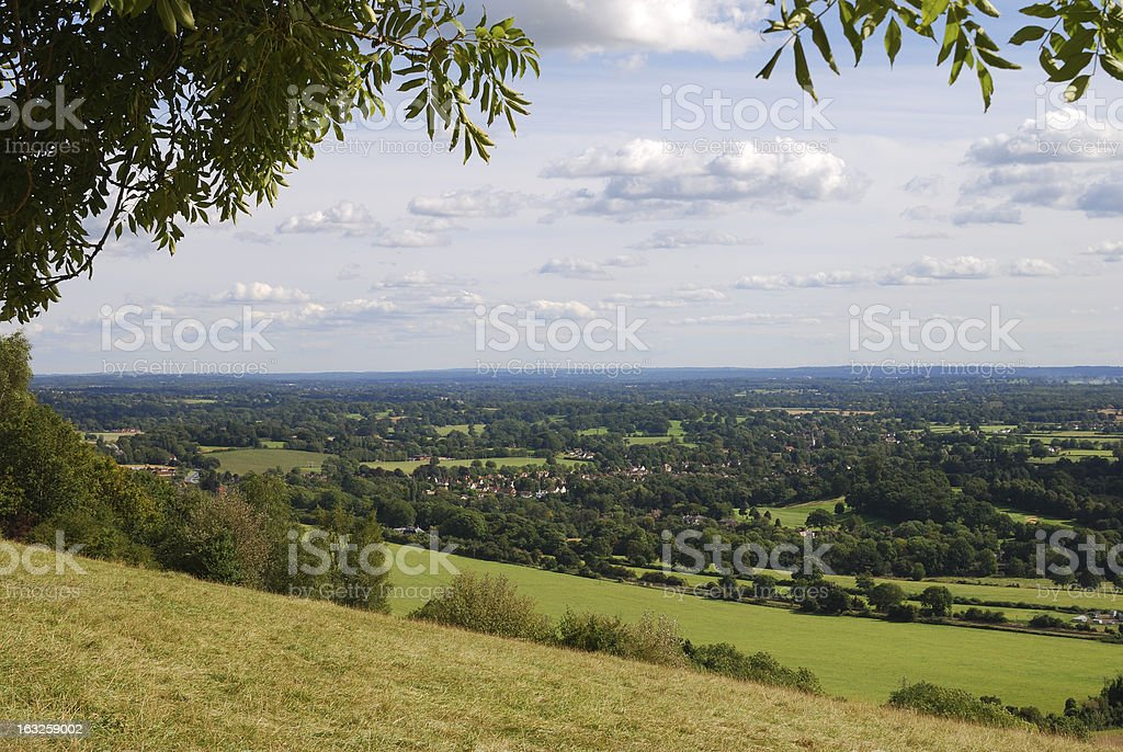 Surrey countryside from Box Hill. Dorking. England stock photo
