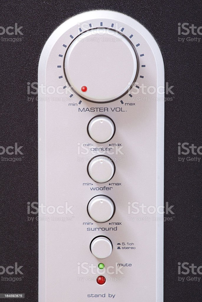 Surround audio device buttons royalty-free stock photo