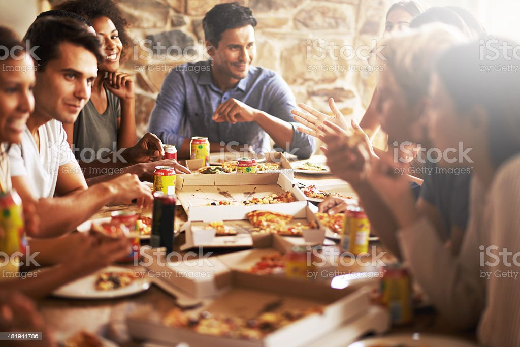 Surround yourself with good food and good fiends stock photo