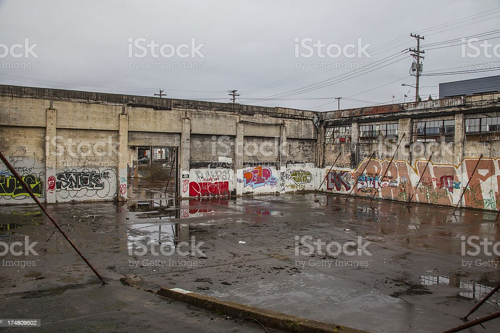 Surrounded by Street Art in abandoned building royalty-free stock photo