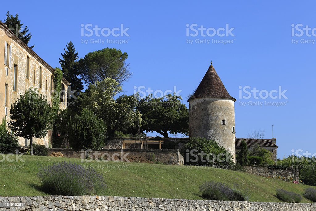 surrounding wall at Monpazier stock photo