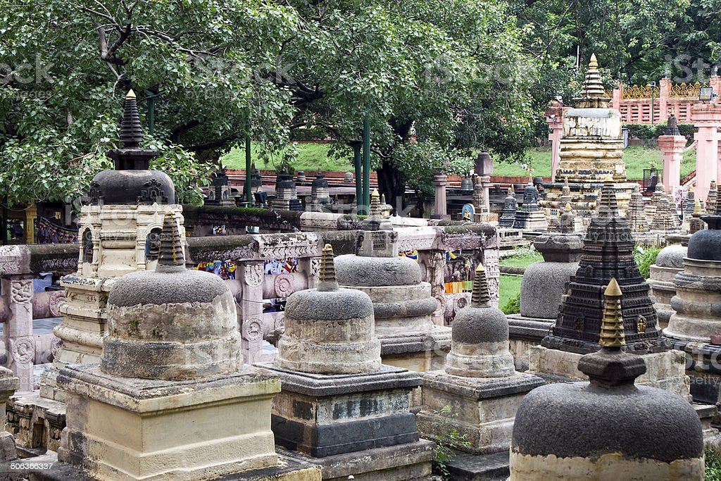 Surroundings of Mahabodhi temple in Bodhgaya stock photo