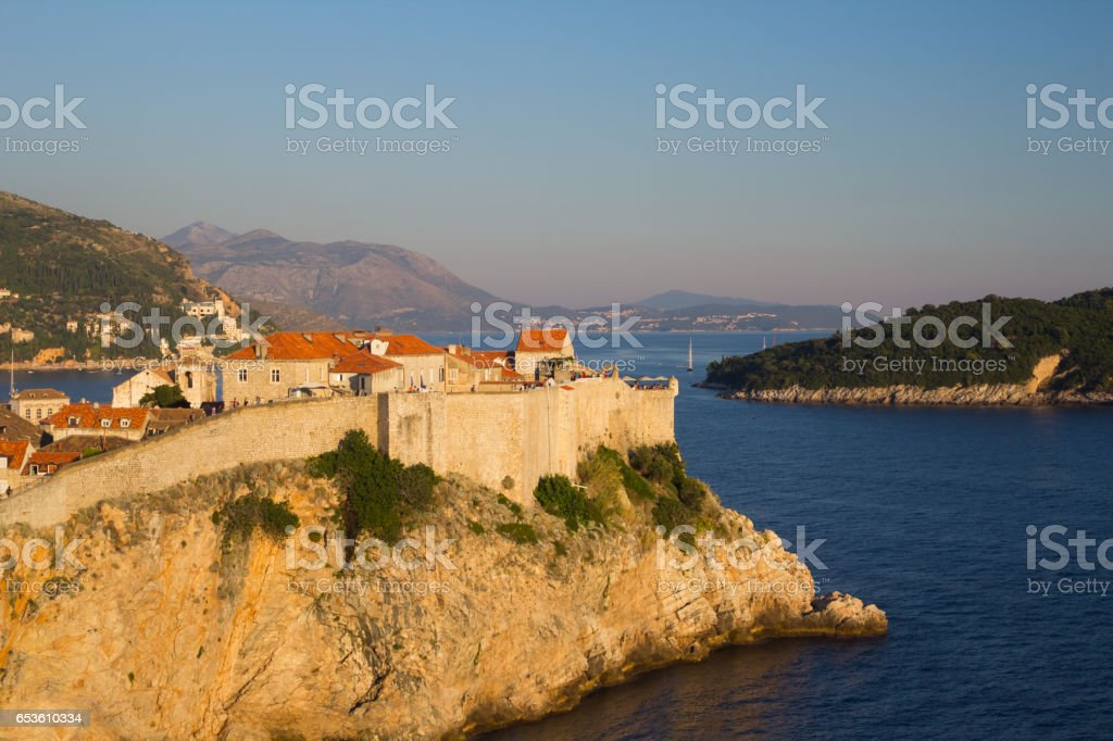 Surroundings wall of Dubrovnik stock photo