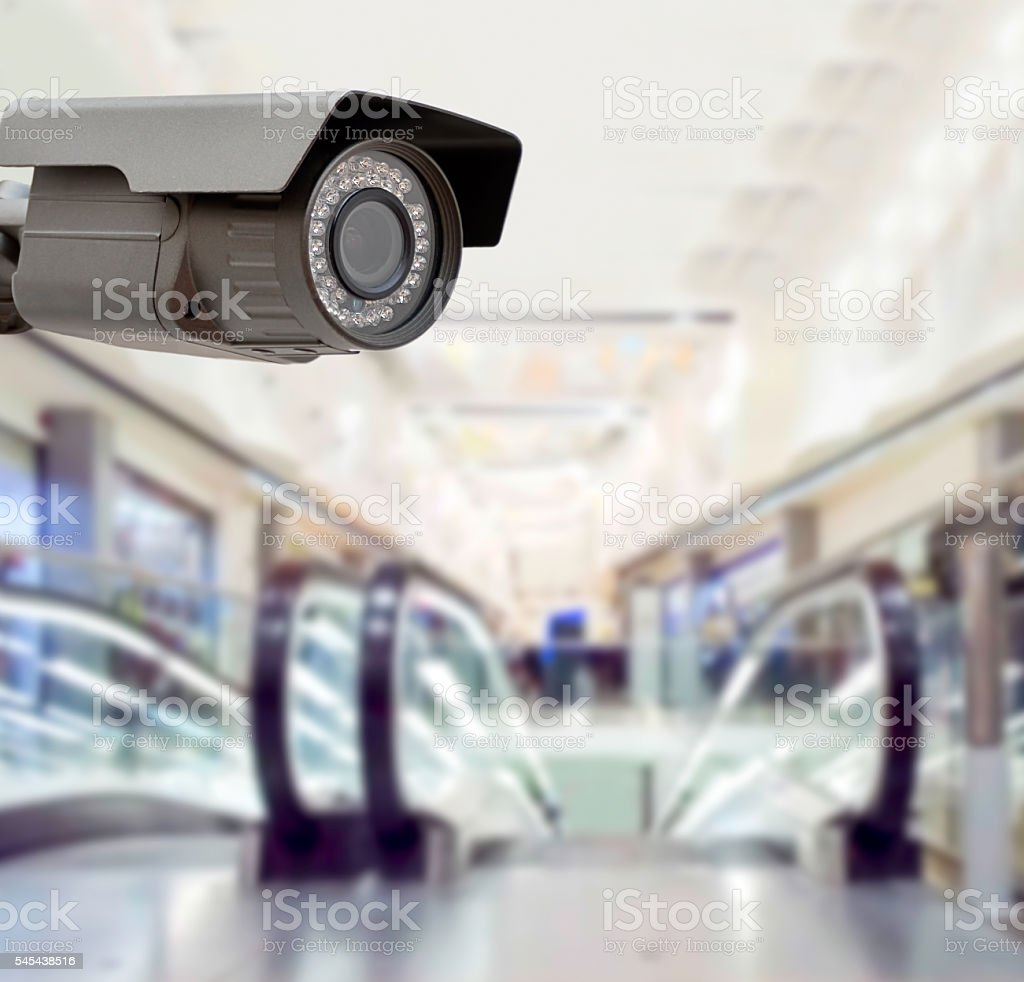 surveillance at the shopping mall stock photo