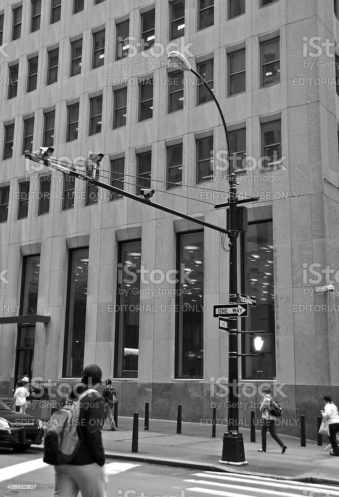 Surveillance camera & license plate readers above Broadway, Lower Manhattan stock photo