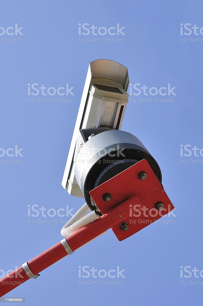 Surveillance Camera mounted on a post royalty-free stock photo