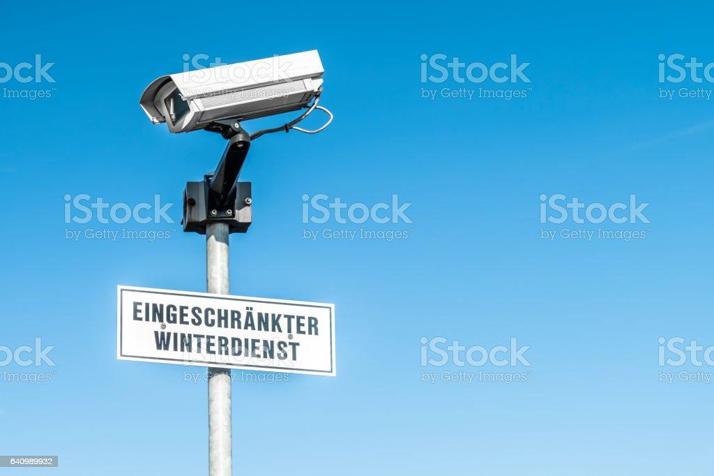 CCTV surveillance camera on a pole stock photo