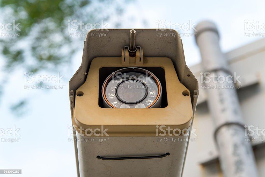 CCTV surveillance camera recording stock photo
