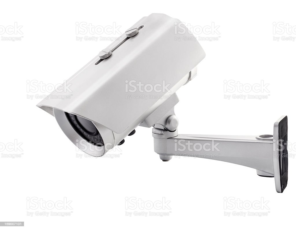 Surveillance camera, with clipping paths stock photo