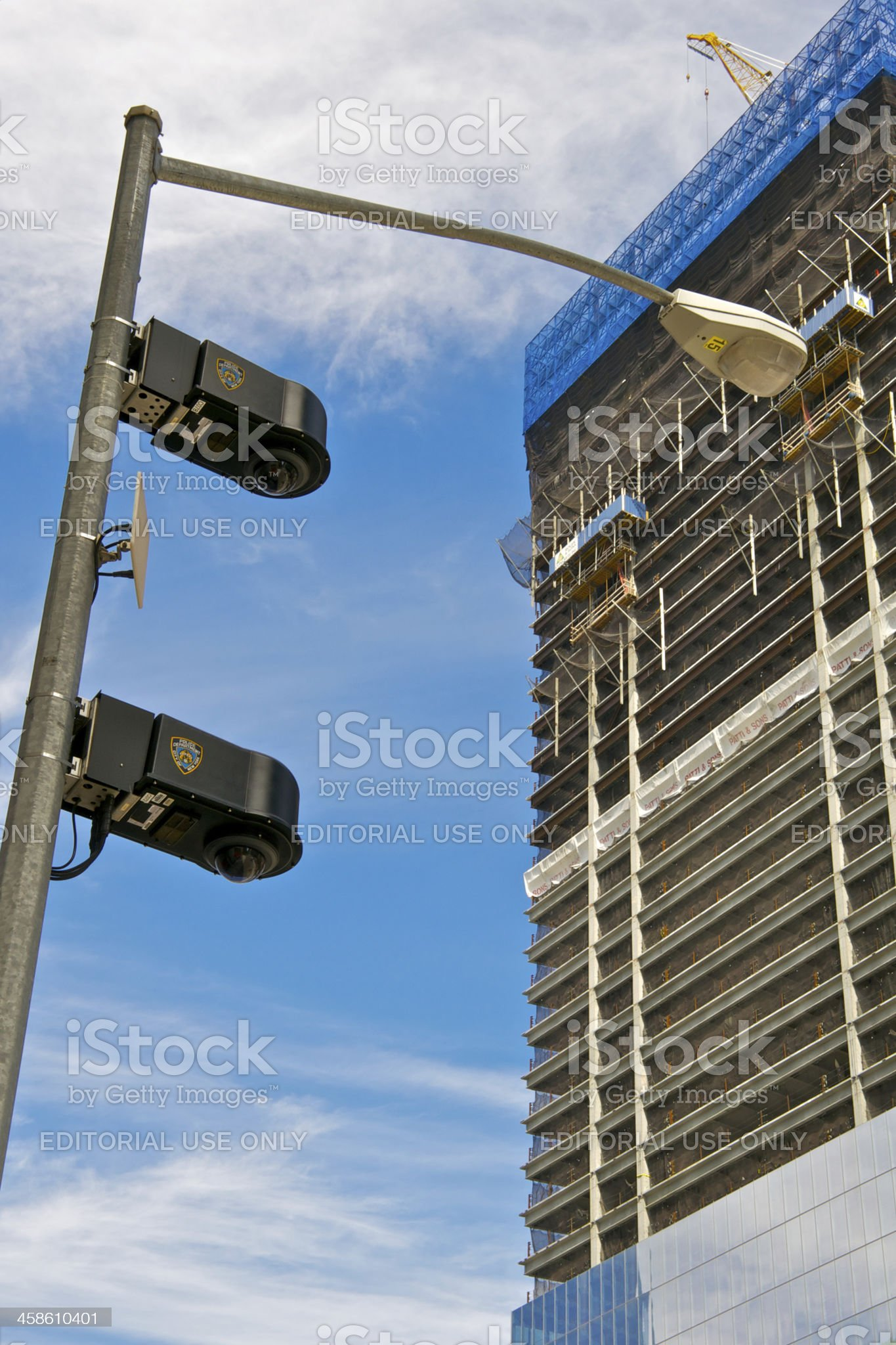 NYPD CCTV Surveillance cameras at Ground Zero, New York City royalty-free stock photo