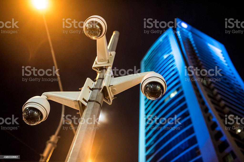 Surveillance cameras on the street stock photo