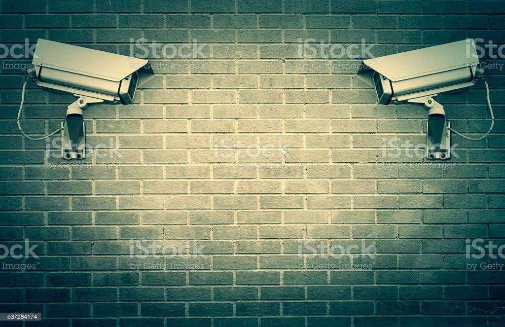 Surveillance cameras stock photo