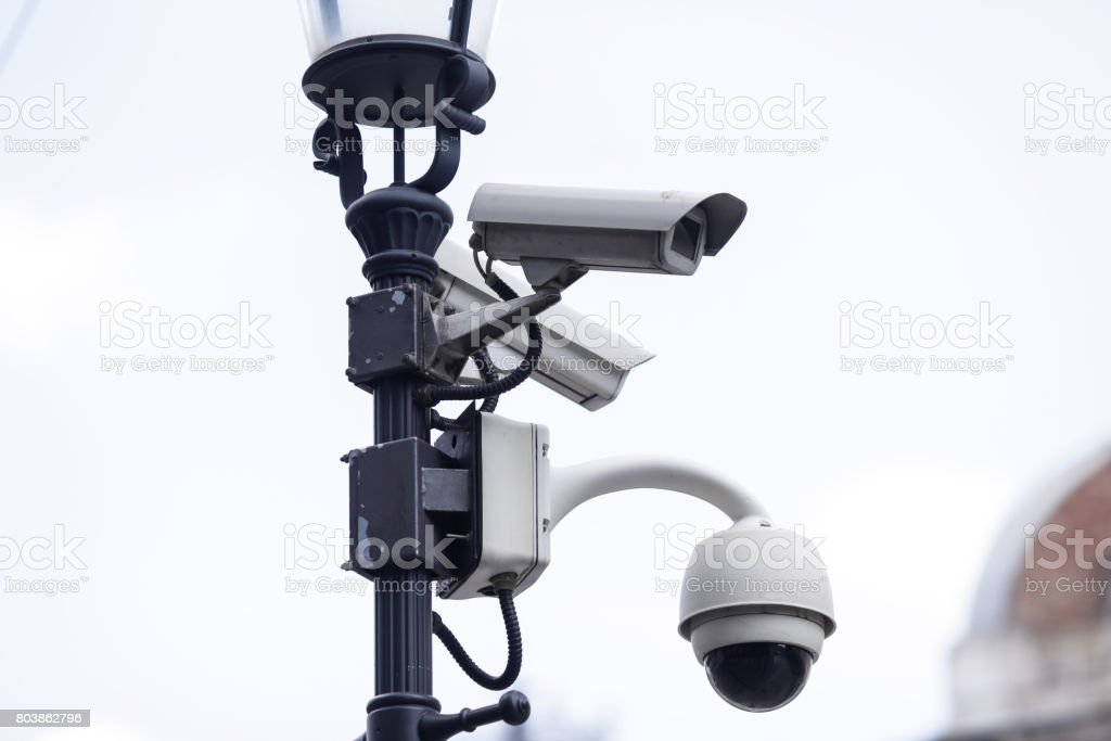 CCTV surveillance cameras stock photo