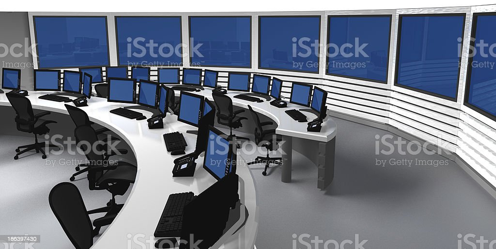 Surveillance control center stock photo