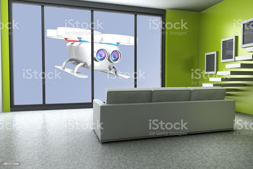 Surveillance drone spying stock photo