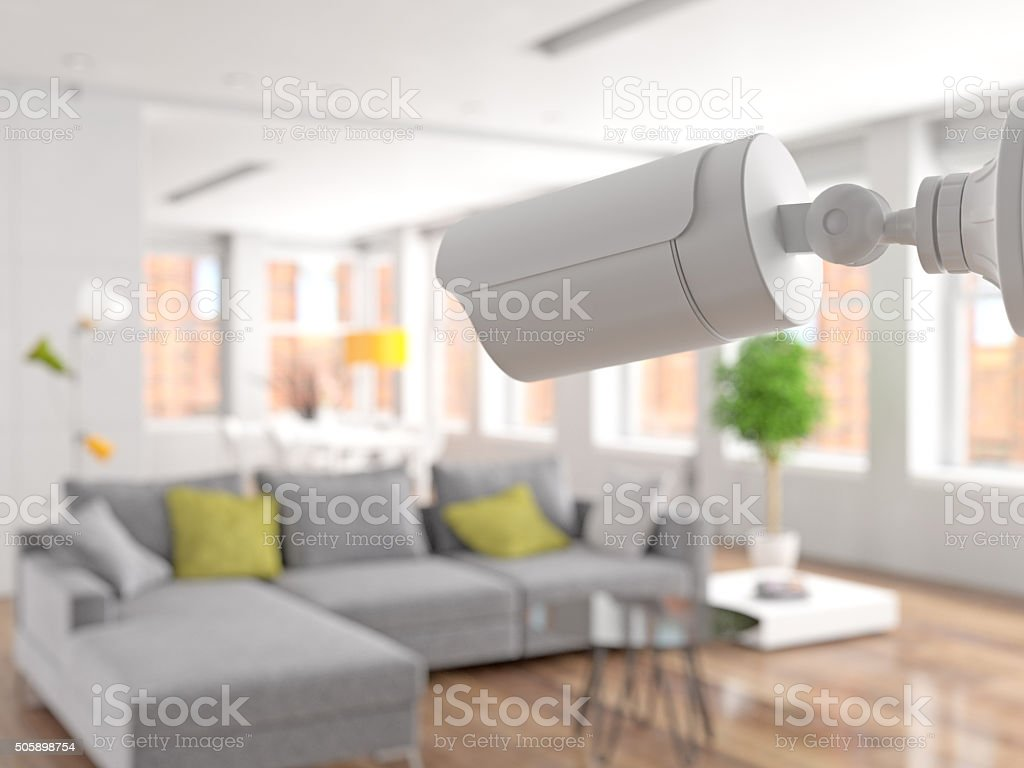 Surveillance in the Living room stock photo
