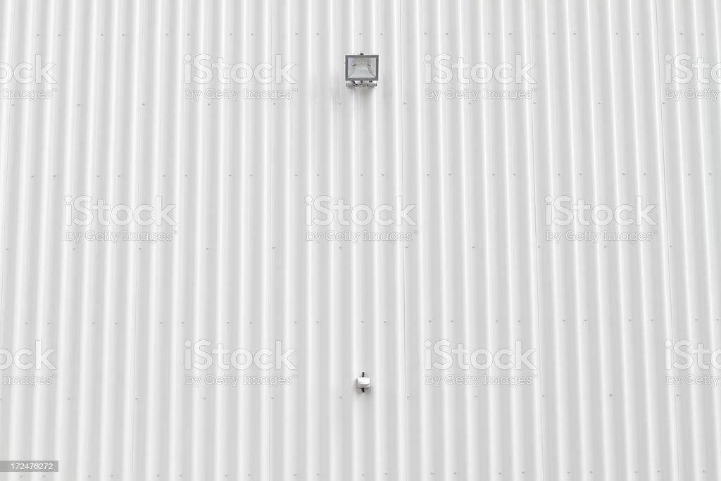 Surveillance lamp and sensor on a white commercial building royalty-free stock photo