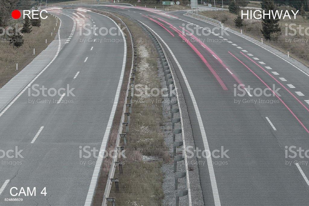 Surveillance monitor - Traffic on Freeway stock photo