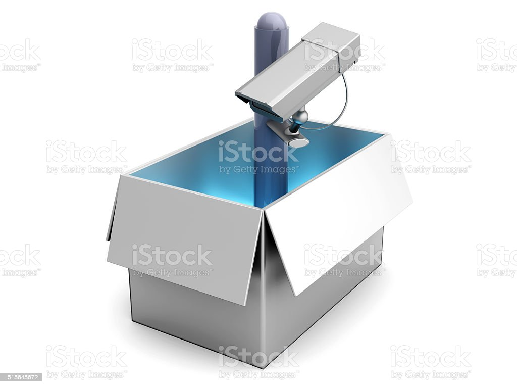 Surveillance out of the Box stock photo