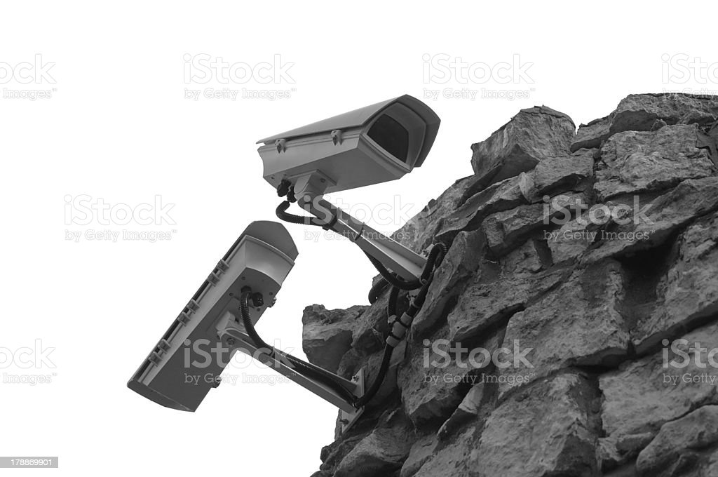 Surveillance security cameras royalty-free stock photo