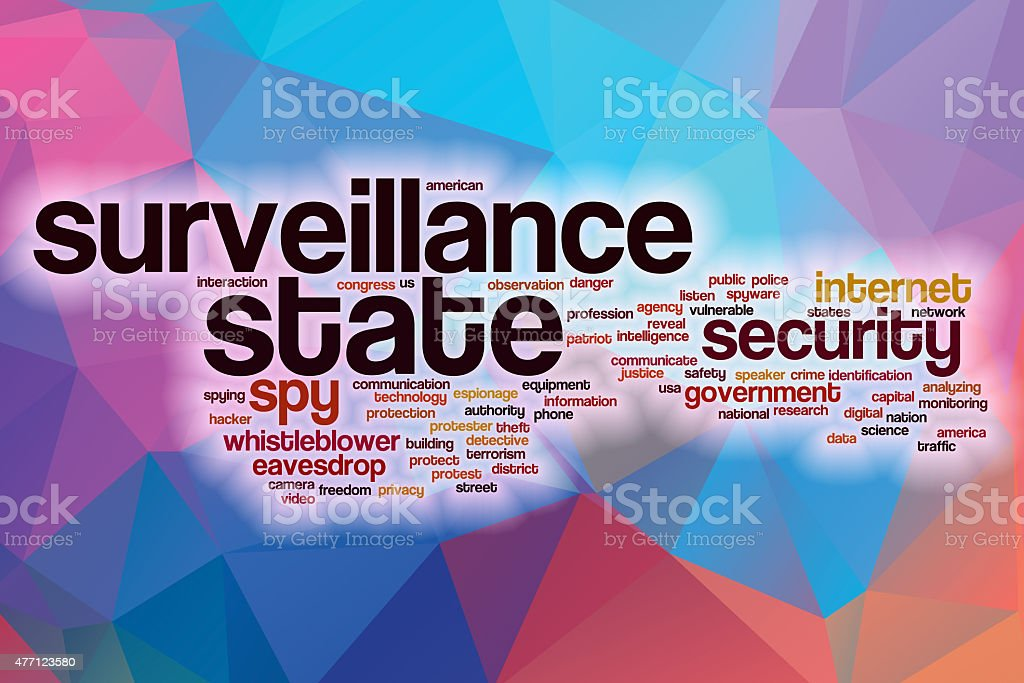 Surveillance state word cloud with abstract background stock photo