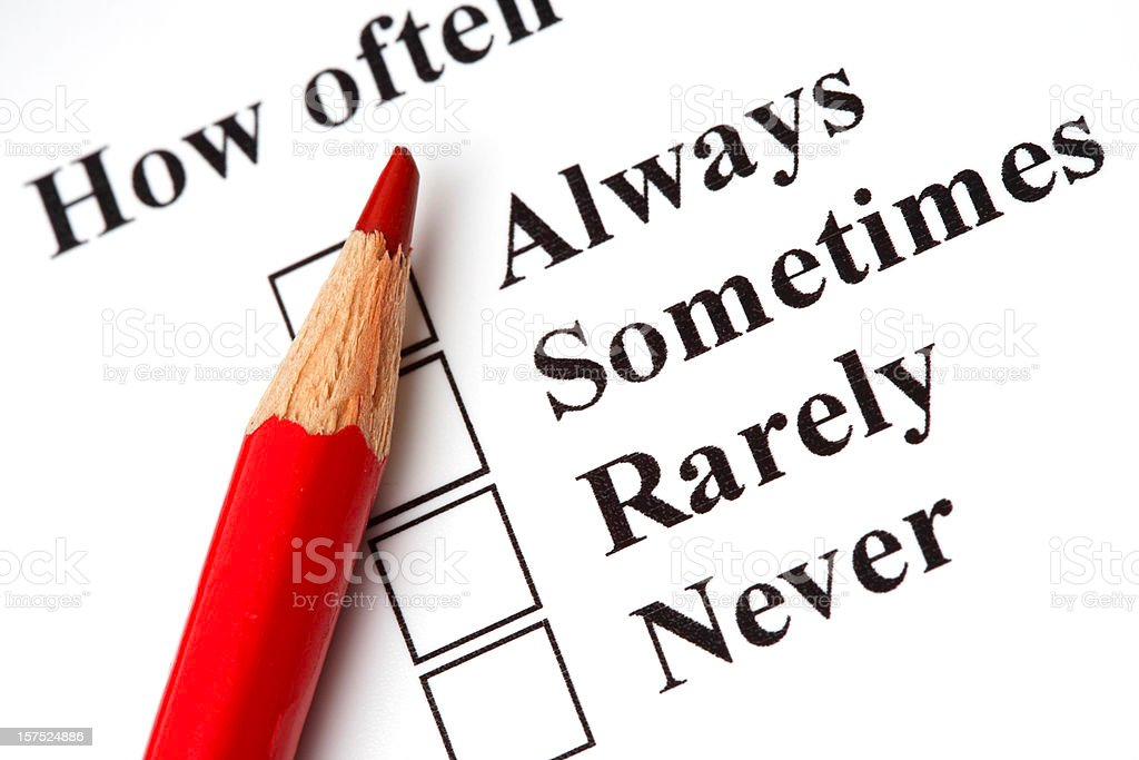 Survey checkbox with red pencil royalty-free stock photo