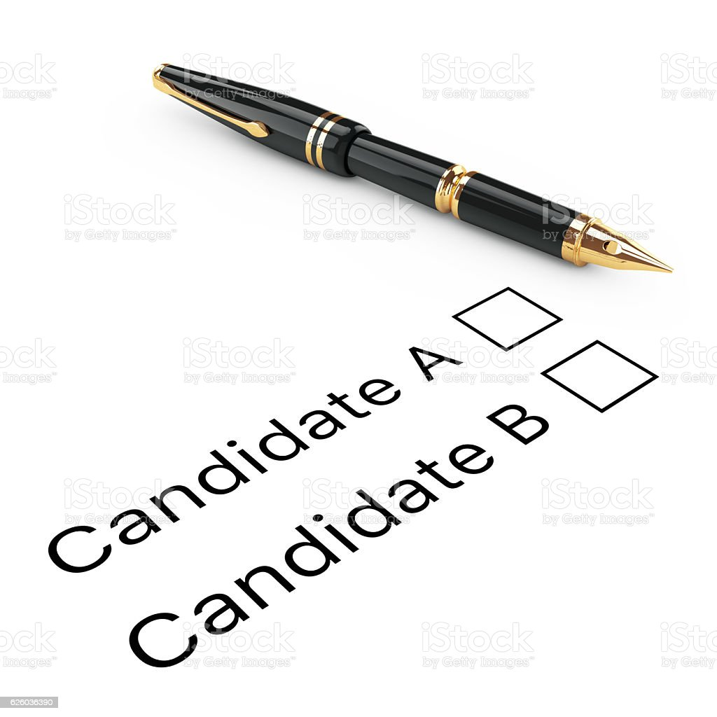 Survey Concept. Candidate A or B Checklist with Golden Fountain stock photo
