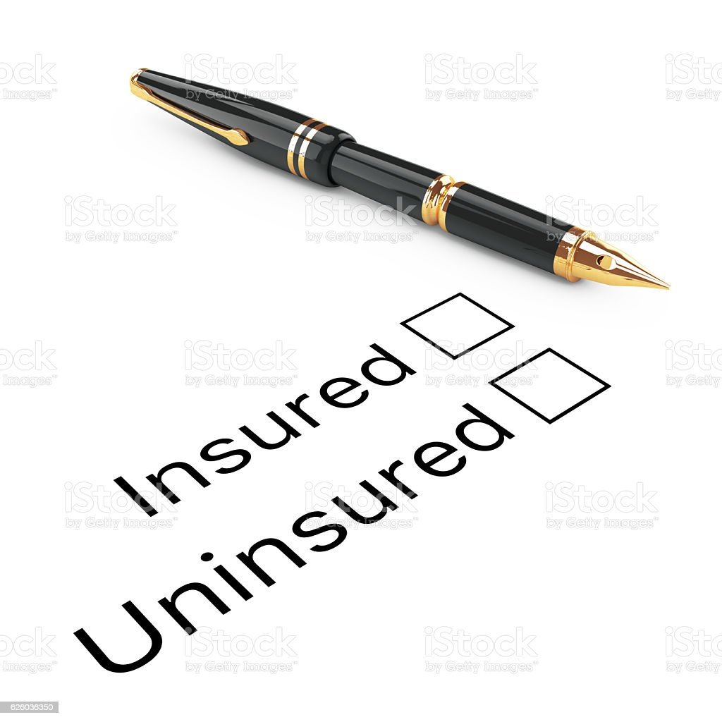 Survey Concept. Insured or Uninsured Checklist with Golden Fount stock photo