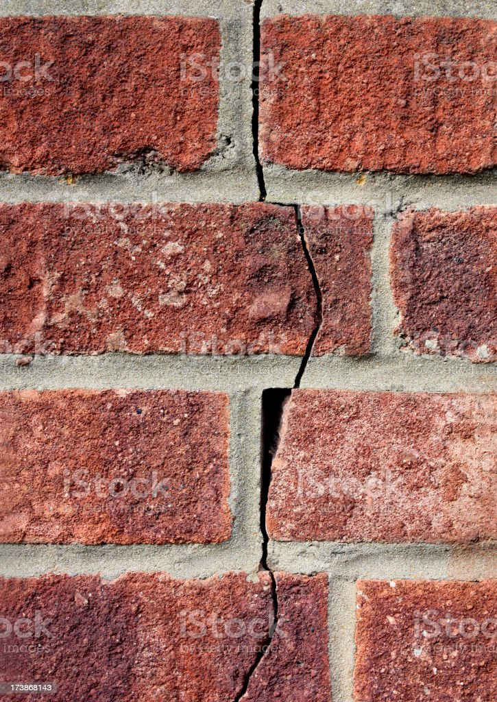 Survey - crack in brick wall of house stock photo