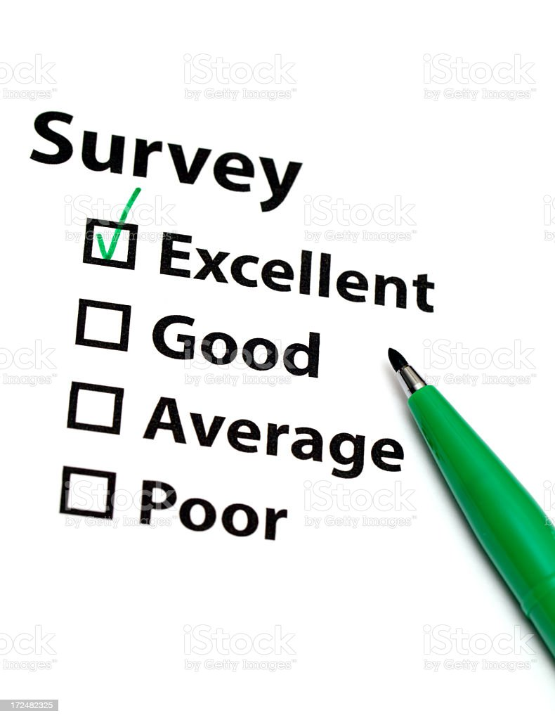 Survey with green tick stock photo