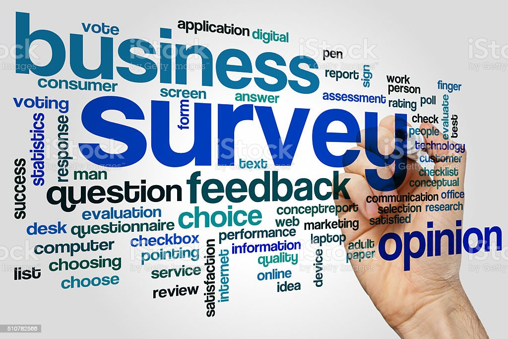 Survey word cloud concept stock photo
