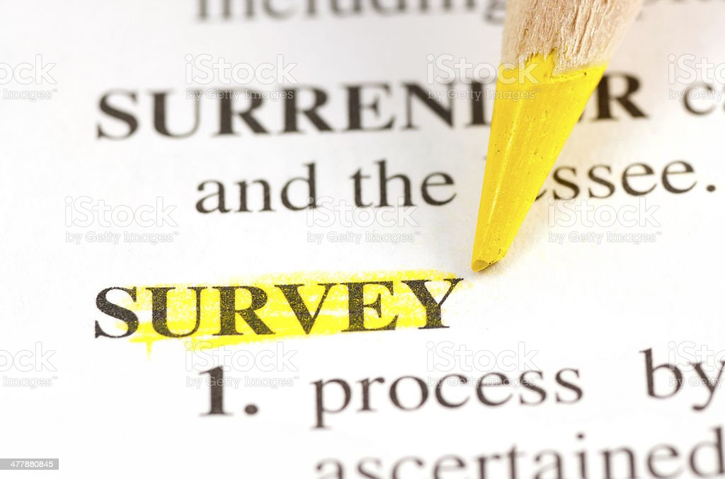 survey word highligted in dictionary royalty-free stock photo
