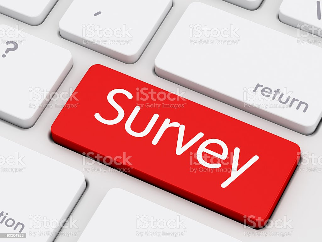 Survey writing on Keyboard stock photo