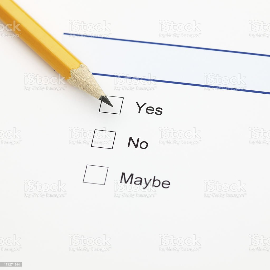 Survey - yes, no, maybe royalty-free stock photo