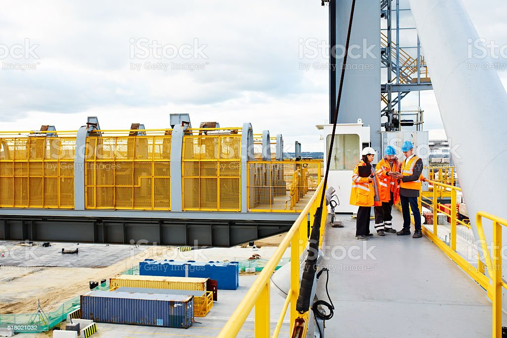 Surveying they dockyard from above stock photo