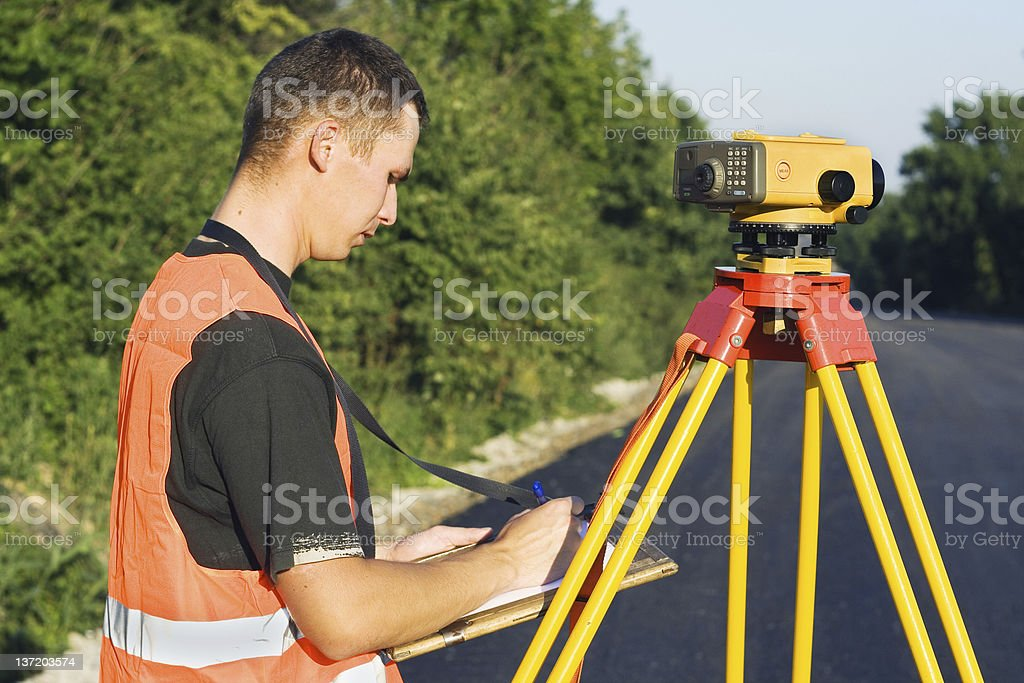 Surveyor at work royalty-free stock photo