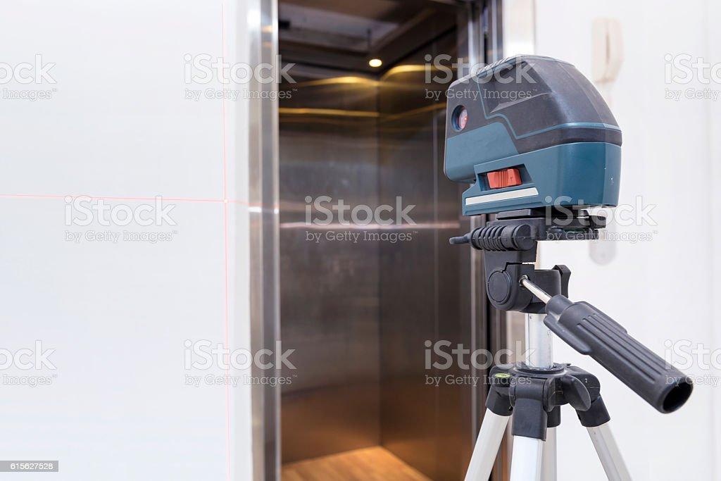 Surveyor equipment tacheometer or theodolite at construction sit stock photo