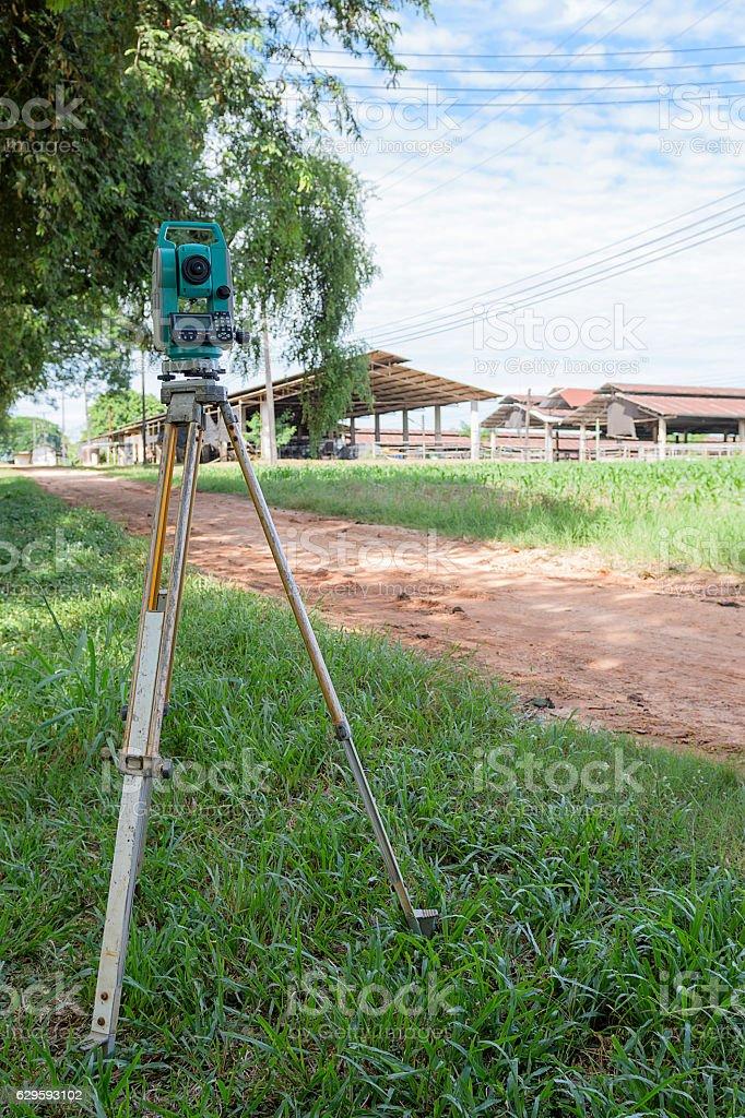 Surveyor equipment tacheometer or theodolite outdoors at constru stock photo
