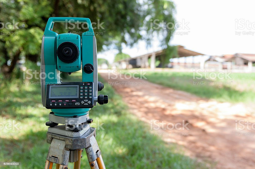 Surveyor equipment tacheometer or theodolite outdoors at constru stock photo