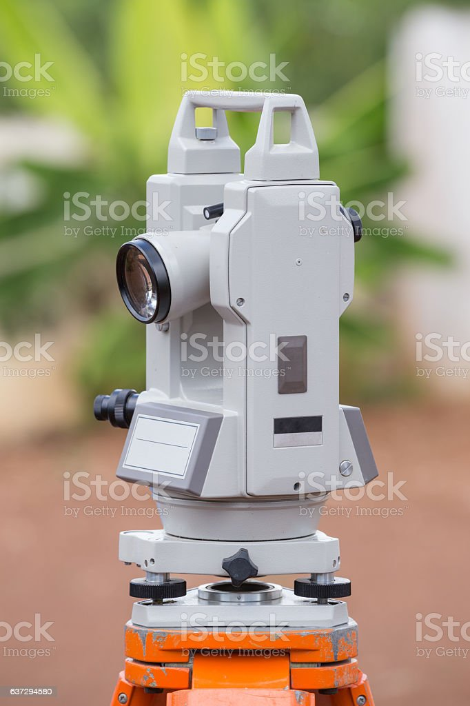 Surveyor equipment tacheometer or theodolite outdoors stock photo