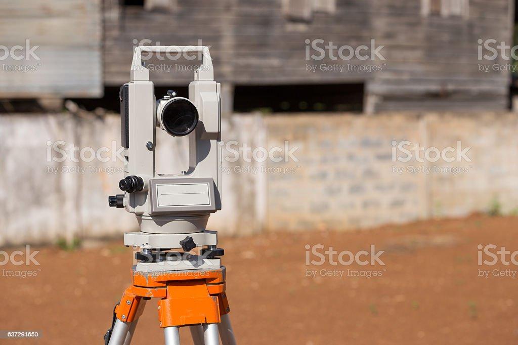 Surveyor equipment tacheometer or theodolite outdoors stock photo